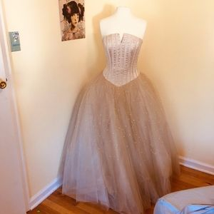 taupe/champagne colored evening gown
